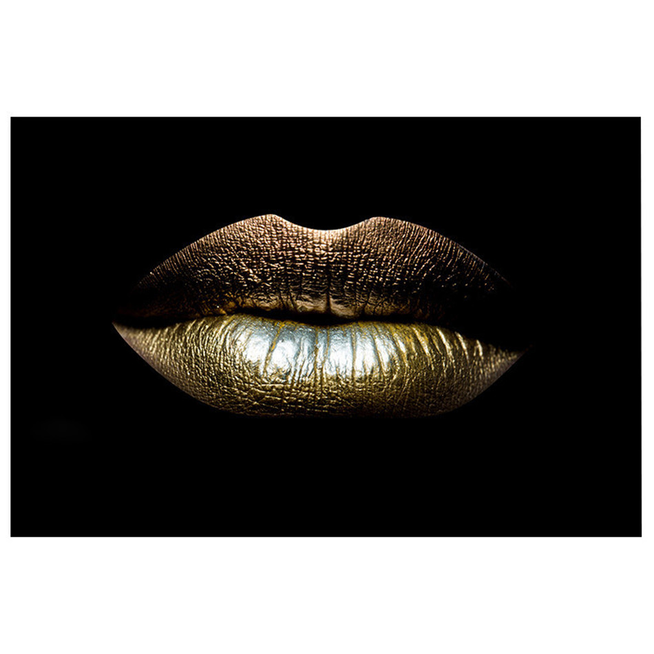 Modern Pictures Black White Sexy Charming Woman Gold Lips Canvas Painting Wall Art For Living Room Home Decor Posters and Prints