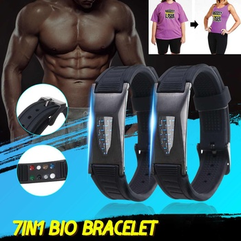 7 in 1 Titanium Magnetic Energy Armband Power Bio Bracelet Health Pain Relief Magnet Health Bracelet 2020 New Therapy Bangles