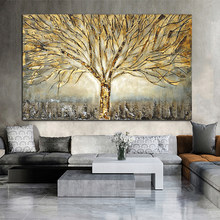 Wall Art Gold Tree Poster Canvas Painting Abstract Pictures For Living Room Home Decoration Posters And Prints No Frame