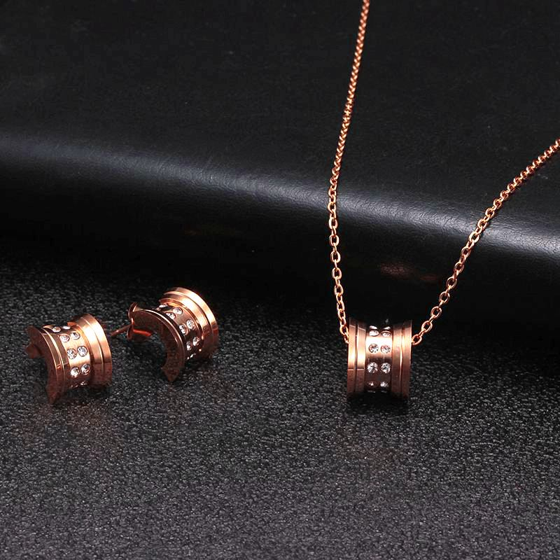 Brand Round Stainless Steel Men Women Charm Jewelry Sets Luxury Wedding Party Necklace and Earrings For Birthday Gift