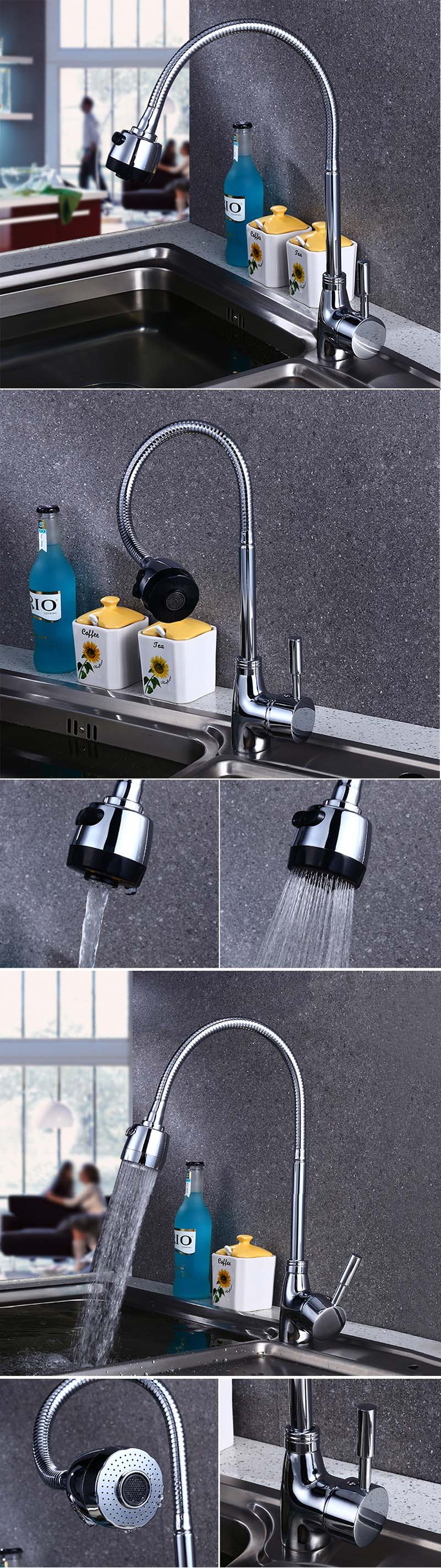 Universal Rotation Kitchen Faucet Tip Three-way Hot Cold Water Spout Bathroom Waterfall Mix Tap Sink Faucet Washing Vegetables