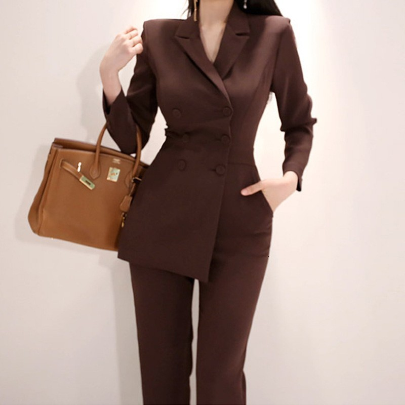 New Womens Business Work Suits Double Breasted Blazer Top Bodysuit Office Ladies Formal Work Pant Suits Slim Fit One Piece Suit