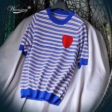 Top de punto de marca de diseñador de lujo para mujer, cuello redondo, camisetas de punto a rayas rojas de amor, negro, azul, B-090