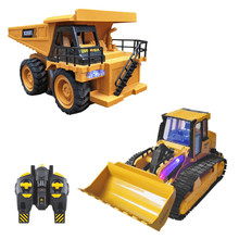 1:16 RC Truck Bulldozer Dumper Caterpillar Tractor Model Engineering Car Excavator Push Soil Music Lighting Effects Kids Toys(China)