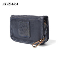Alisara Genuine Cow Leather Men Women Key Bag Small Business Kay Case Card Housekeepers Coin Purses Change Money Bags Mini Pouch