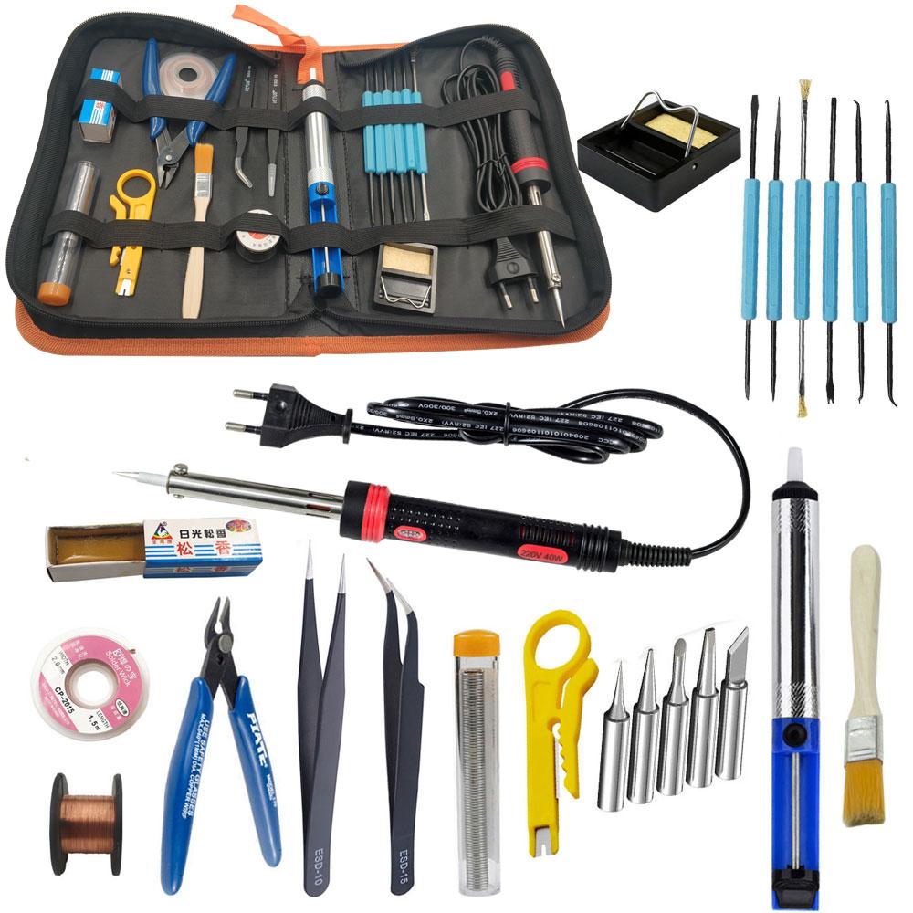 Electronic Soldering Iron Kit 30W 40W 60W EU US 220V 110V Soldering Iron Tool Kit Including Handbag Solder Wire Tin Tweezers