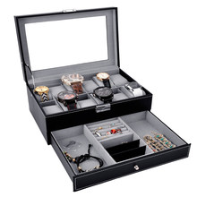 12 Slots Fashion Watch Box PU Leather Watch Case Holder Organizer 2 Layers Jewelry Display Storage Stand Box for Gift Men Women