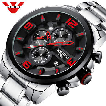 NIBOSI Brand Mens Watches Luxury Stainless Steel Quartz Men Watch Sports Chronograph Wristwatch Big Dial Clock Relogio Masculino - discount item  80% OFF Men's Watches