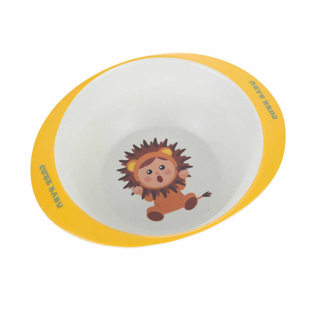 ไม้ไผ่เส้นใยการ์ตูนเด็กให้อาหารจานชามข้าวสาลีสำหรับเด็กทารกจานการฝึกอบรมอาหารเย็นน่ารักจานถาด