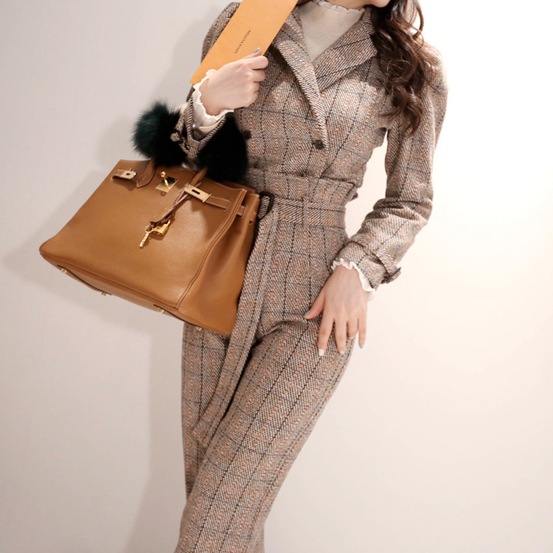 New Arrival Women Temperament Fashion Short Suit Work Style Trend Pant Comfortable Thick Warm Plaid High Quality Ol Pant Suits