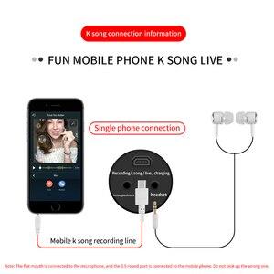 Image 5 - Taşınabilir profesyonel Karaoke kondenser mikrofon Sing kayıt canlı mikrofon cep telefonu bilgisayar için yankı ses kartı