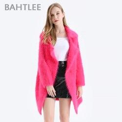 سترة شتوية للنساء من BAHTLEE معطف أنجورا محبوك بأزرار مع جيب سترة من الصوف بأكمام طويلة وياقة مقلوبة