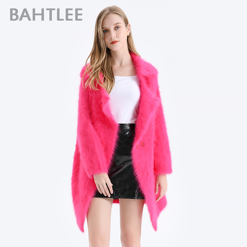 BAHTLEE Winter Women  Angora Coat Knitted Cardigans With Pocket Sweater Wool Jumper Long Sleeves Turn Down Collar