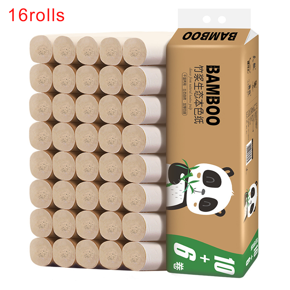 16rolls Office School Household Bamboo Pulp Embossing Bath Tissue Thickened Easy Dissolution 4 Layers Coreless Soft Toilet Paper