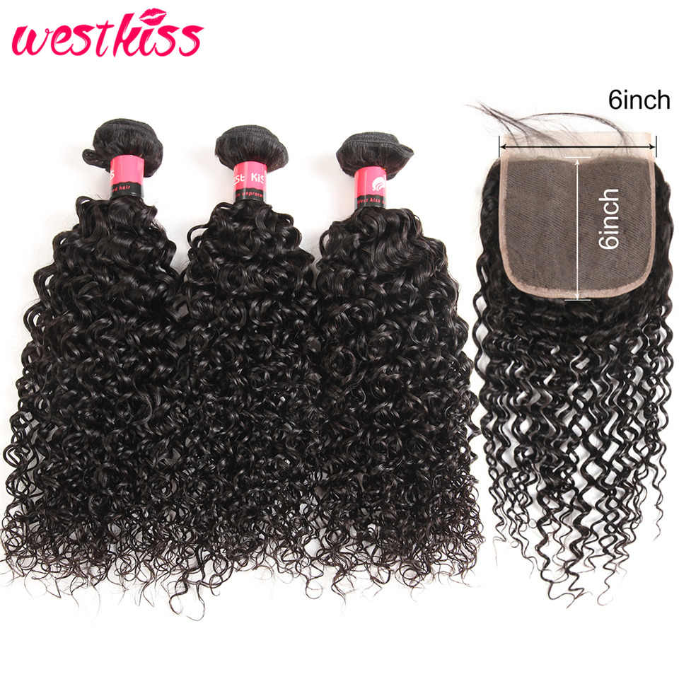 Curly Bundles With Closure 6x6 Pre Plucked With Baby Hair 100% Human Hair Lace Closure With Bundles Brazilian Hair Remy WestKiss