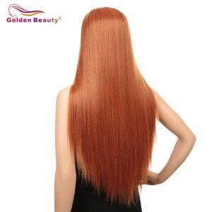 Image 2 - Peruka z długich prostych włosów syntetyczna koronka przodu peruki dla kobiet z środkowej części żaroodporne peruka do cosplay pomarańczowy kolor złoty piękno