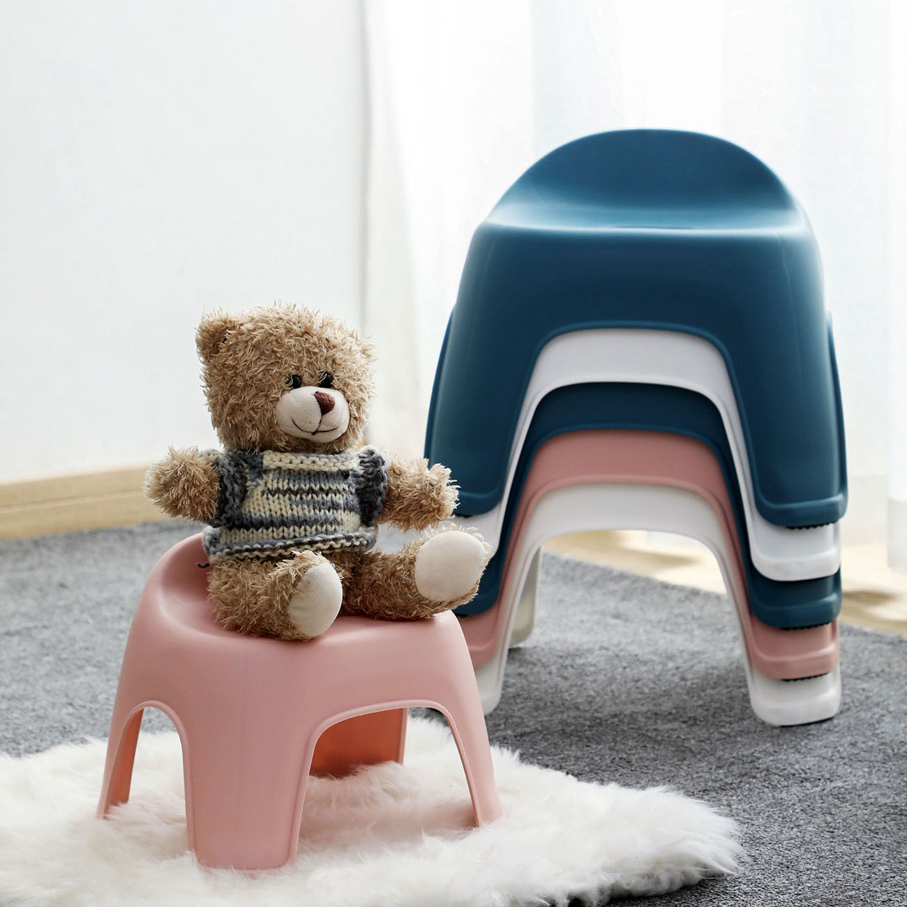 Thicken Baby Kids Stool Plastic Backrest Stool Living Room Non-slip Change Shoe Bench Kindergarten Kids Child Study Stool
