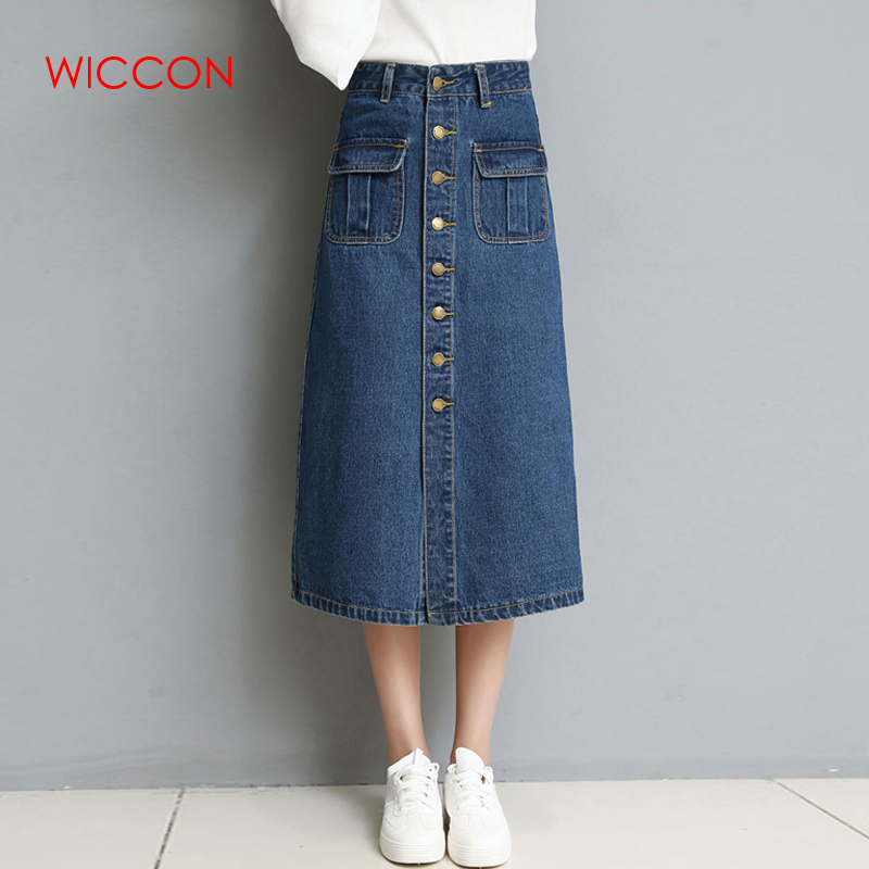 WICCON Autumn Spring Elegant Women High Waist Jeans Skirt 2018 Button Up Pocket Vintage A-Line Casual Blue Denim Mid Calf Skirt