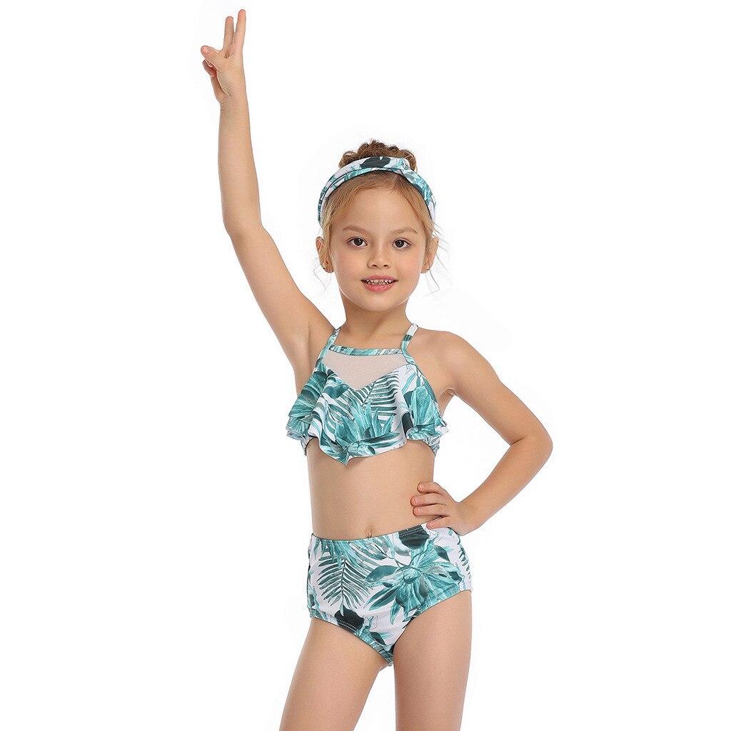 Beautiful Girls Bikini Mother And Daughter Beachwear Print Two Pieces Split Swimsuit Matching Swimsuit Summer Children Bodysuit
