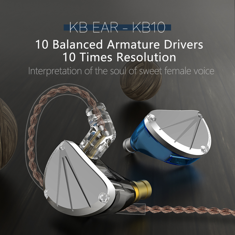 KBEAR KB10 5 Balanced Armature Driver In Ear Earphone HIFI Bass Monitor Earphone Earbuds With 2PIN Cable KZ AS10 C12 ZS10 PRO