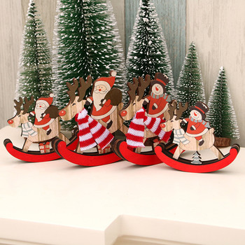 1PC Christmas Wooden Sled Pendants DIY Santa Claus Snowman Xmas Tree Ornaments Christmas Party Decoration Kids Gift #15 image
