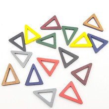 Wood Triangle DIY Loose Beads Fit For Jewelery Accessory Middle hole Beads For Women Earrings Making Parts 32x25mm 10pcs y1246