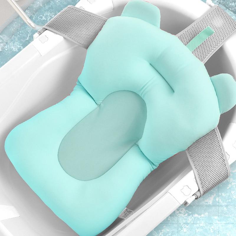Cartoon Portable Baby Shower Bath Tub Pad Non-Slip Bathtub Mat Newborn Safety Security Bath Support Cushion Foldable Soft Pillow