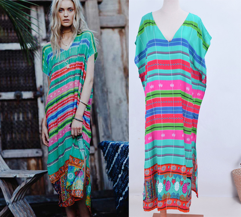 Hot Selling Cotton Green Red Stripes Printed Slit Beach Skirt Holiday Long Skirts Bikini Cover-up Sun Shirt Women's