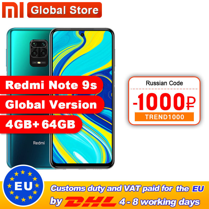 Global Version Xiaomi Redmi Note 9S 4GB 64GB /6GB 128GB smartphone Snapdragon 720G Octa core 5020 mAh 48MP Quad Camera