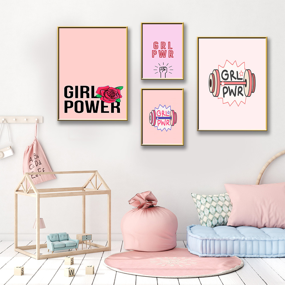 Minimalist girl power Nordic Posters And Prints Wall Art Canvas Painting Paintings For Living Room Wall Home Decor