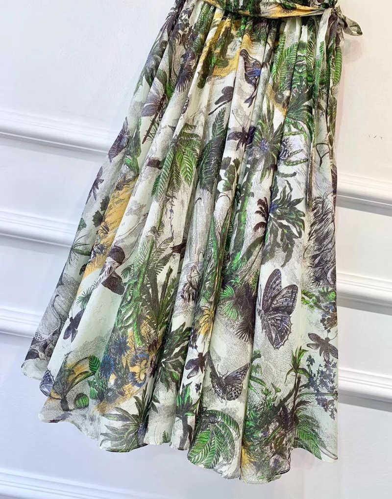 Красный RoosaRosee Осенняя Высококачественная подиумная дизайнерская женская зеленая хлопковая юбка с цветочным принтом 2019 элегантные праздничные пляжные модные юбки