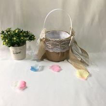 Креативный Свадебный цветок девушка корзина ручка для винтажной цветочной корзины для Свадебная церемония, вечеринка Декор корзина для хранения