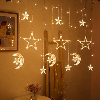Moon Star LED Light String EID Mubarak dekoracja na Ramadan dla domu islamski muzułmanin Party Decor Kareem Ramadan i Eid Decor 2021 tanie i dobre opinie Huiran CN (pochodzenie) W1669 Id al-Fitr Eid Mubarak Wood Eid Mubarak Gift ramadan and eid decorations ramadan decoration wood