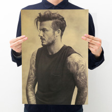 Room decoration Beckham poster kraft paper retro cafe bar home decoration painting art wall sticker