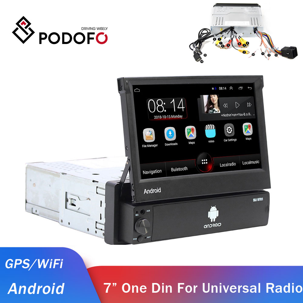Podofo 1din Android Car Radio GPS Car Multimedia Player One Din Audio Stereo For Volkswagen Nissan Hyundai Kia Toyota Autoradio