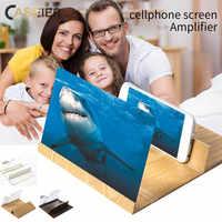 CASEIER 3D ekran telefonu wzmacniacz zmienić swój telefon w kino natychmiast 12 cal składane drewna uchwyt ekran telefonu komórkowego