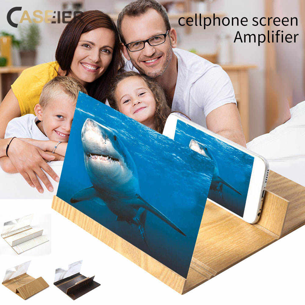 CASEIER 3D Phone Screen Amplifier Turn Your Phone Into a Cinema Instantly 12 inch Folding Wood Bracket Mobile Phone Screen