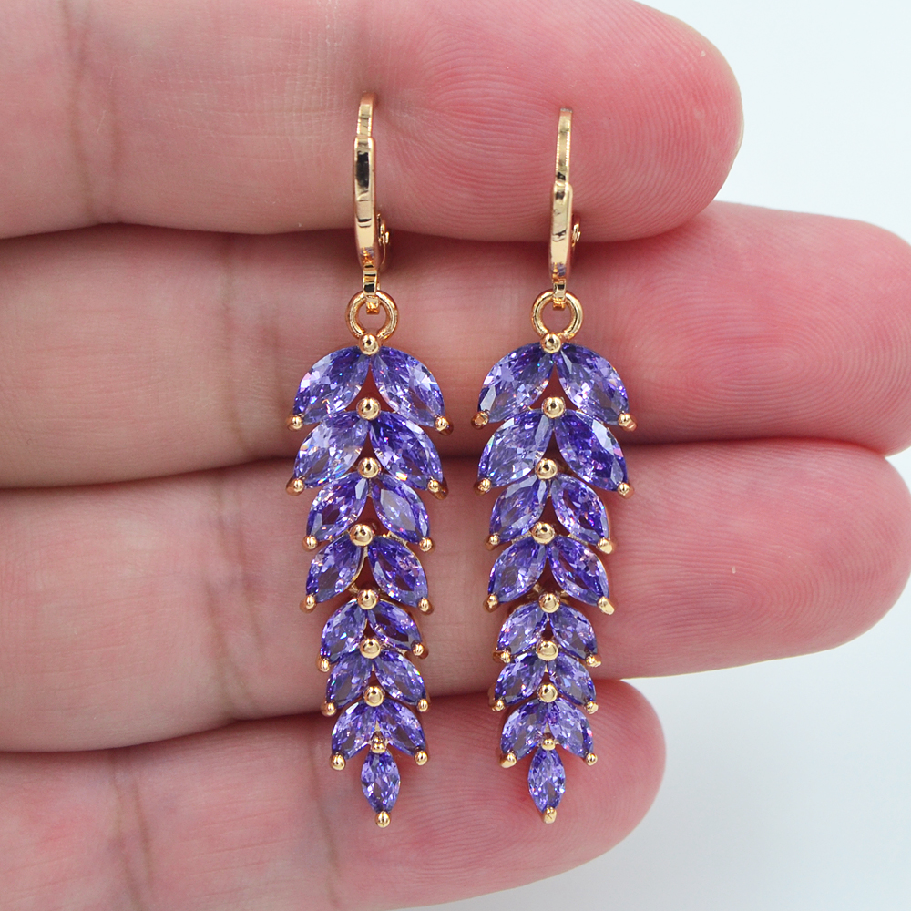 AAA+ Cubic Zirconia Gold Color Fashion Women Luxury Purple CZ Leaf Engagement Earrings Jewelry