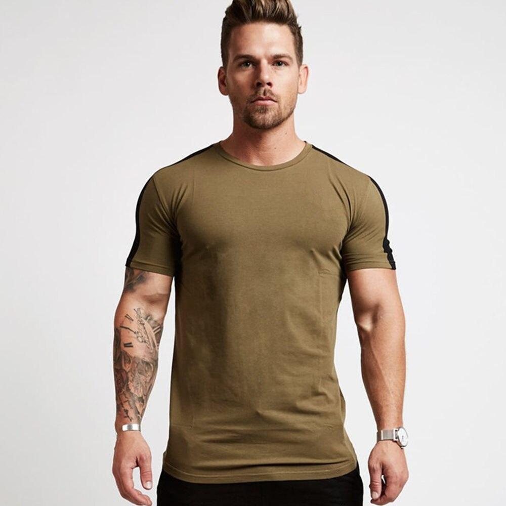 Gym Fitness T Shirt Mens Running Sport T-shirt Short Sleeve Cotton Bodybuilding Tees Tops Summer Male Jogging Training Clothing