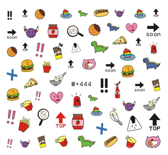 M + 443-471 New Style Japanese Korean Watermarking Adhesive Paper Fruit Nail Sticker Cartoon Lettered Nail Sticker