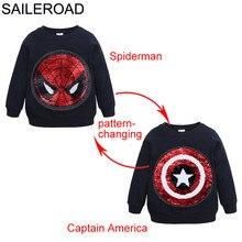 SAILEROAD Человек-паук, изменяющий лицо Captain America Boys Толстовки для детей с длинным рукавом Толстовка с капюшоном Детская толстовка