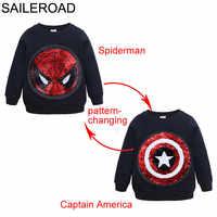 Saileroad spiderman face-changing capitão américa meninos camisolas para crianças manga longa hoodies camisa 2020 crianças moletom