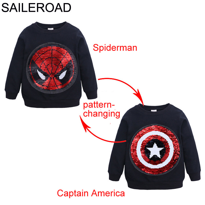 SAILEROAD Spiderman Face-changing Captain America Boys Sweatshirts For Kids Long Sleeve Hoodies Shirt 2020 Children's Sweatshirt