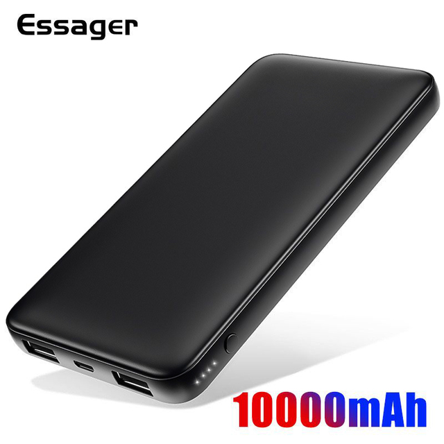 Essager Slanke Power Bank 10000 Mah Dual Usb Powerbank 10000 Mah Poverbank Draagbare Oplader Externe Batterij Voor Redmi Note 8 pro