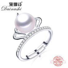 2020 New Arrival Natural Freshwater Pearl Ring Zircon Crown Design 925 Sterling Silver Ring Fashion Accessories Gifts for girls(China)