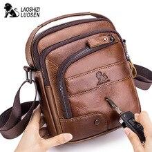 купить LAOSHIZI Brand Men Crossbody Shoulder Bag Men's Cowhide Messenger Bag Male Handbag Top-handle Zipper Casual Travel Pack дешево