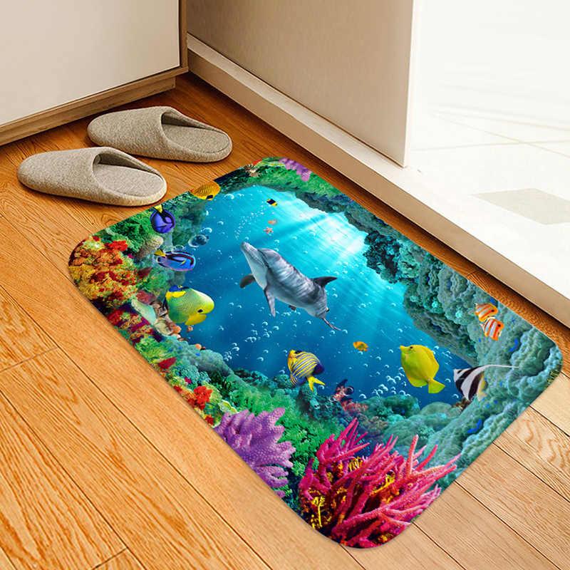 Delfini e Balene Underwater World 3D Digitale Stampato flanella stuoia di Portello, comodino mat, tappetino da bagno