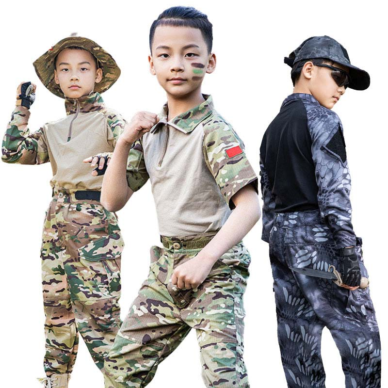 2021 US Special Forces Kids Cosplay Clothing Army Military Scouting Uniform Camouflage Training Performance Costumes 120-160Cm
