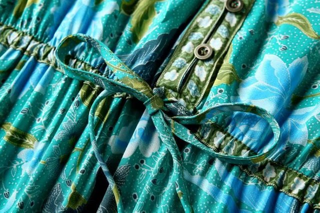 Vintage chic women floral print bat sleeve beach Bohemian maxi dresses  Ladies V neck Tassel Summer rayon Boho dress vestidos 5
