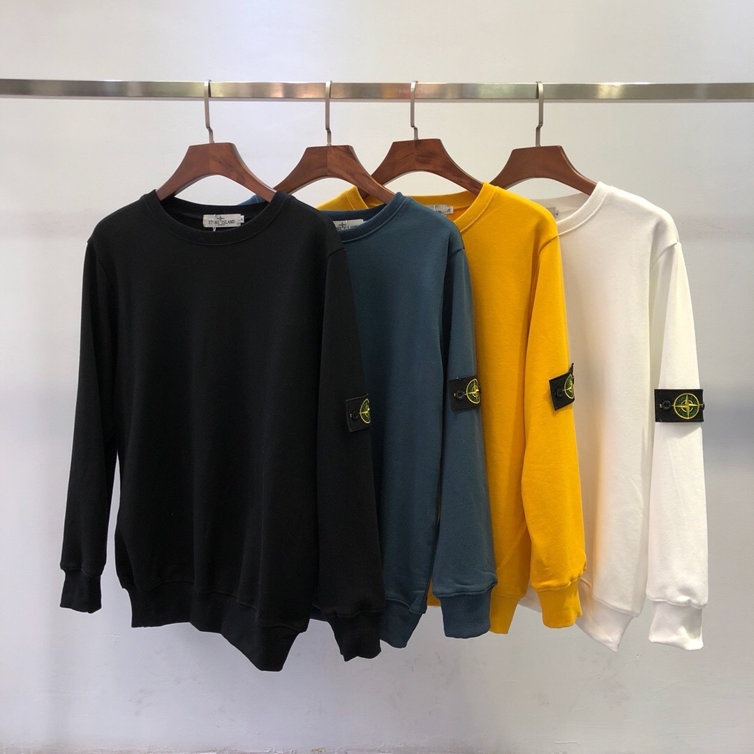 2019 Autumn New Products European And American Minimalist Popular Brand Stone Island Base-Armbands Looped Pile Long Sleeve Pullo